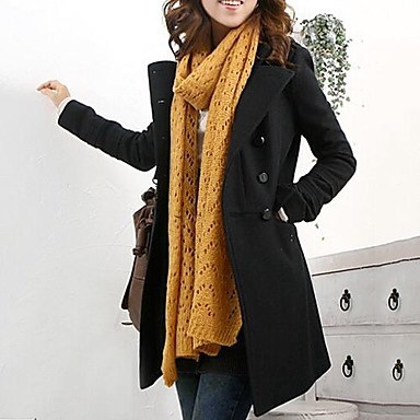 Double breasted high collar wool jacket