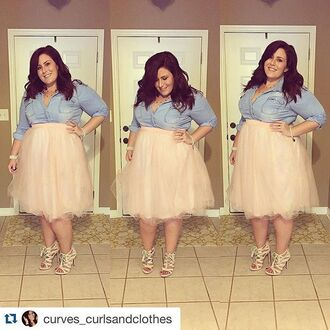 skirt plus size curvy midi skirt beige taupe plus size skirt tulle skirt