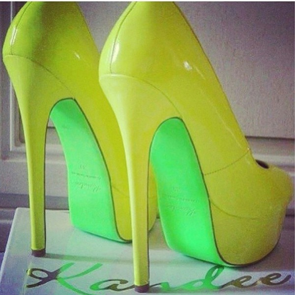 shoes neon neon yellow heels cute summer shoes summeer sexy kandee johnson kandee high heels highlighter green