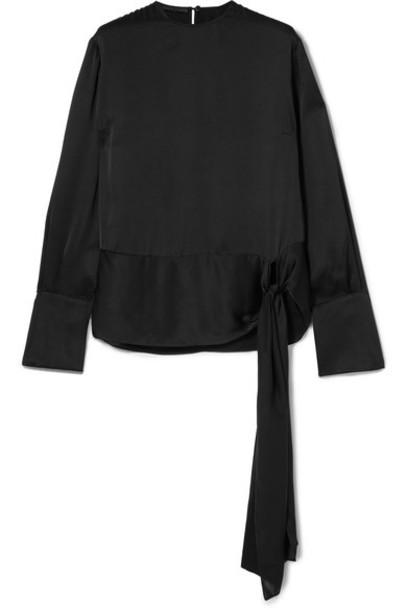 Stella McCartney top black silk satin