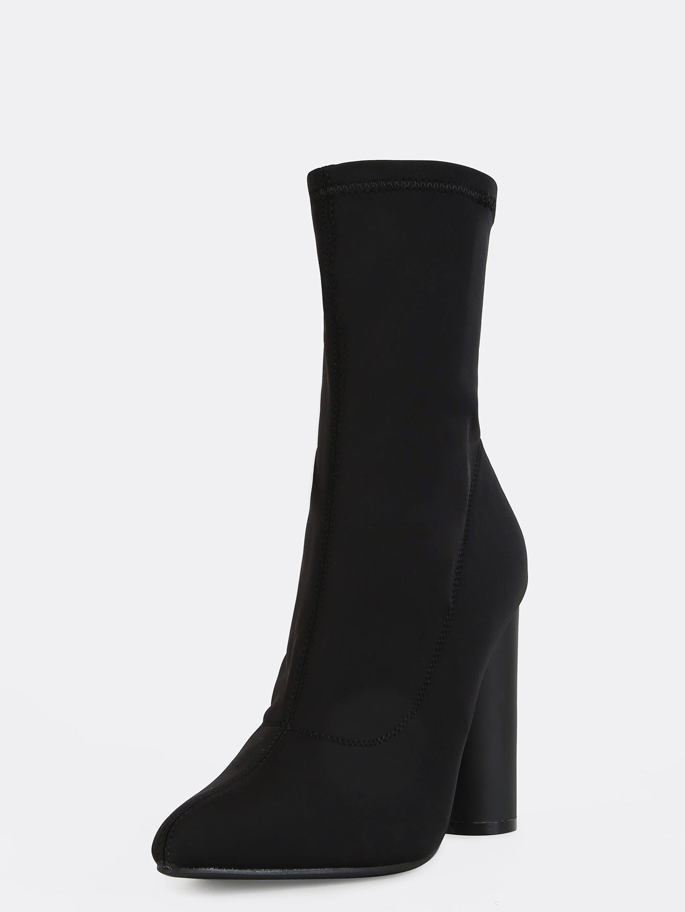 8201b0977a Pointy Toe Cylinder Heel Boots BLACK -SheIn(Sheinside)