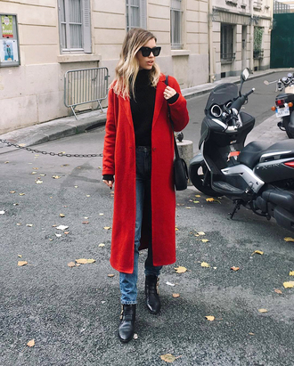 coat tumblr red coat long coat denim jeans blue jeans sweater black sweater knit knitwear knitted sweater boots sunglasses