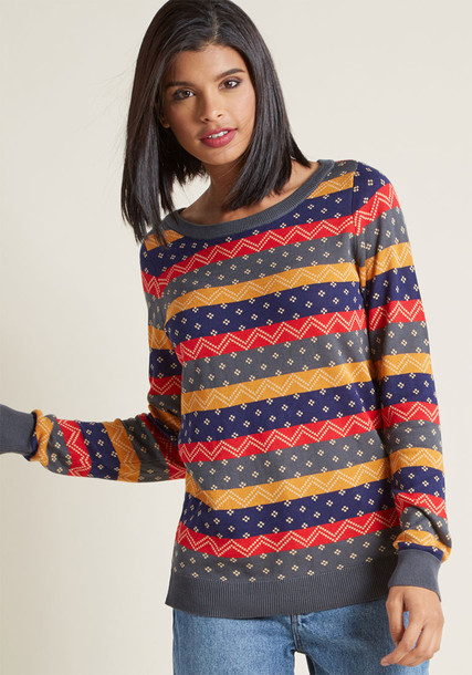 MCS1174 sweater vintage fashion style navy beige grey red