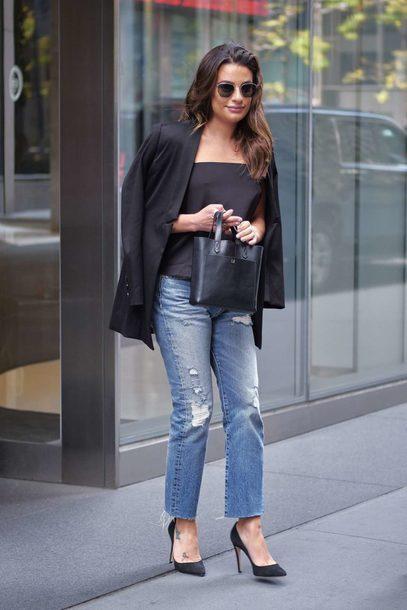 top jacket lea michele streetstyle fall outfits jeans denim blazer