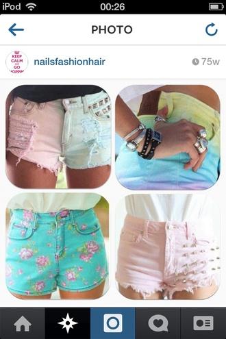 floral shorts bright bright dipdye