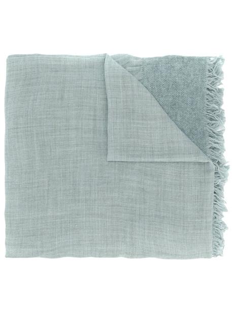 women scarf knitted scarf blue silk wool