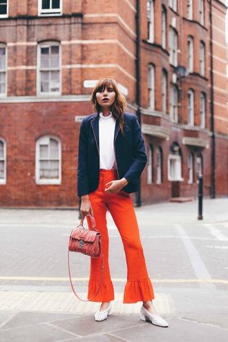 natalie off duty blogger jacket top pants bag shoes