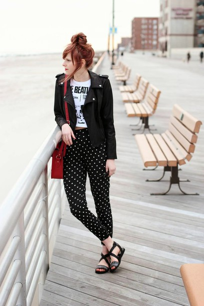 steffy's pros and cons blogger t-shirt pants bag printed pants polka dots polka dot pants top white top crop tops white crop tops red bag sandals flat sandals leather jacket black leather jacket