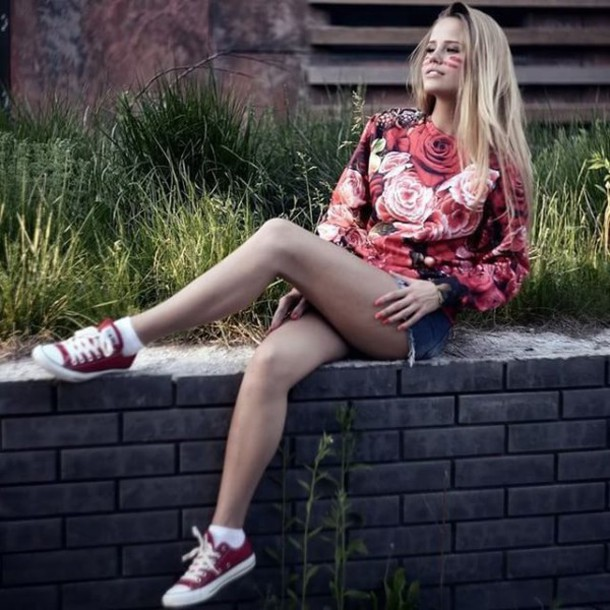 Sweater, Roses, Fruits, Red, Photoshot, Sneakers, Red