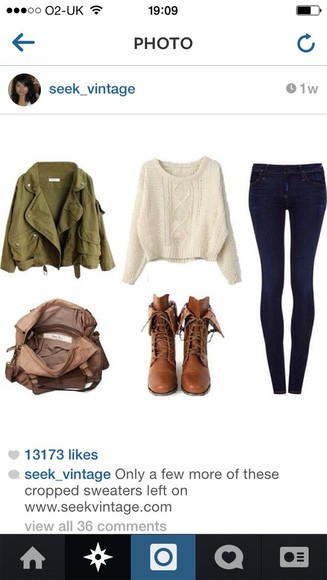 green jacket shoes fashion summer outfits style stylish white jumper blue skinny jeans brown bag brown booties