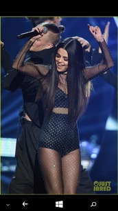 jumpsuit,sheer,black jumpsuit,cystals,long hair,selena gomez,all black everything,shiny,transparent,fabulous,American Music Awards,black,same old love,live,sparkle,sexy,beautiful,nice