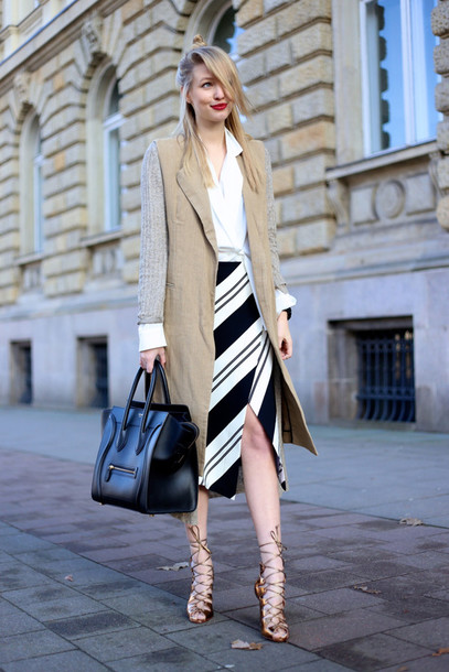 ohh couture blogger cardigan striped skirt slit skirt white blouse celine bag strappy sandals skirt bag jewels shoes jacket blouse
