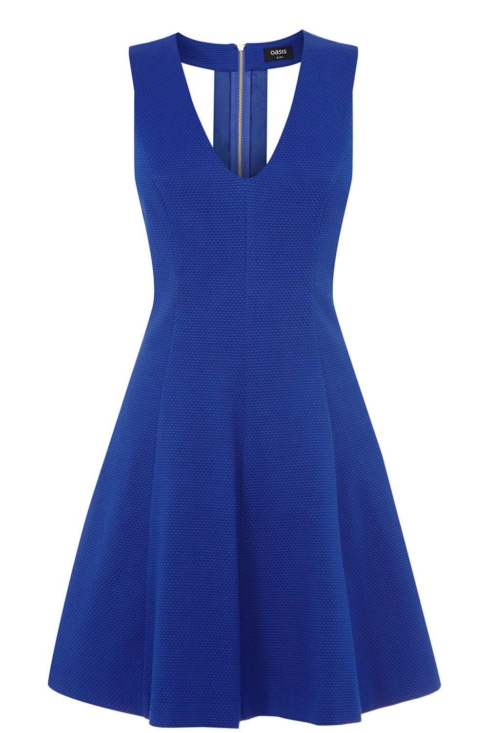 Textured Jacquard Skater Dress | Blue | Oasis Stores
