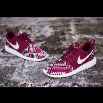shoes nike tribal pattern nike roshe run nike shoes aztec burgundy