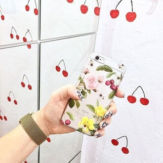 phone cover yeah bunny cherry floral flowers