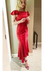 dress,red dress,red,monochrome,midi dress,lili reinhart,instagram,sandals,sandal heels,shoes