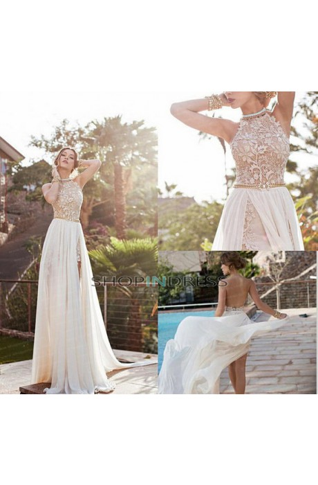 Princess halter floor length chiffon white prom dress with appliques npd098005 sale at shopindress.com