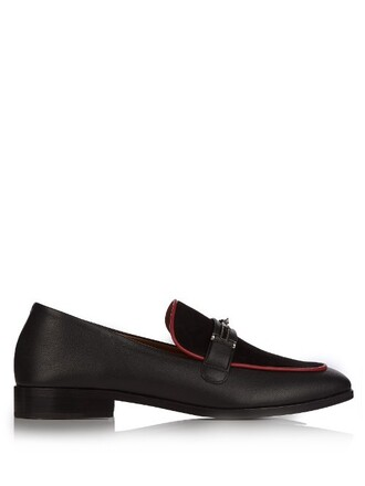 loafers leather suede black red shoes