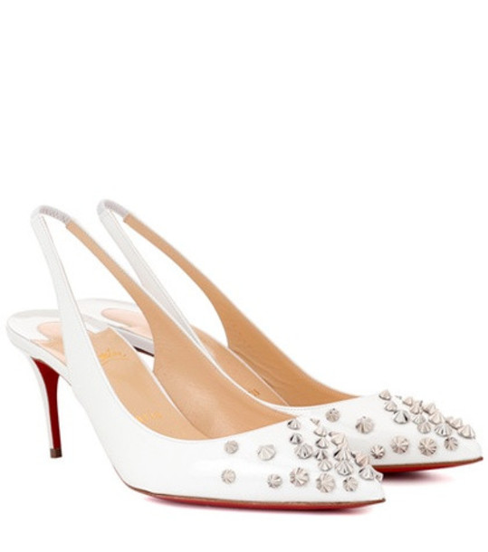 Christian Louboutin Drama Sling 70 patent leather pumps in white