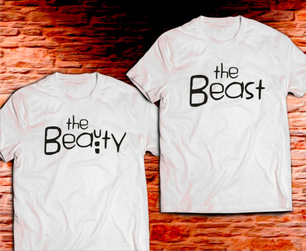 1724f8ee8 t-shirt, beauty beast, shirt, couple, matching shirt, couple, couple ...