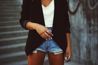 jacket blazer black blazer jeans denim white tan tanned black jacket semi-formal casual shirt
