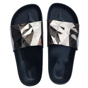 shoes,pewter,pewter slides,slide shoes,metallic slides