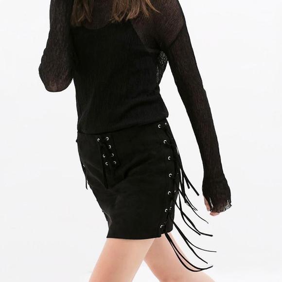 mini skirt sexy skirt black skirt cowboy skirt. tassel skirt