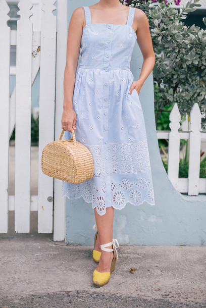 dress tumblr blue dress midi dress spring outfits spring dress baby blue light blue eyelet dress eyelet detail sandals espadrilles wedges wedge sandals bag basket bag