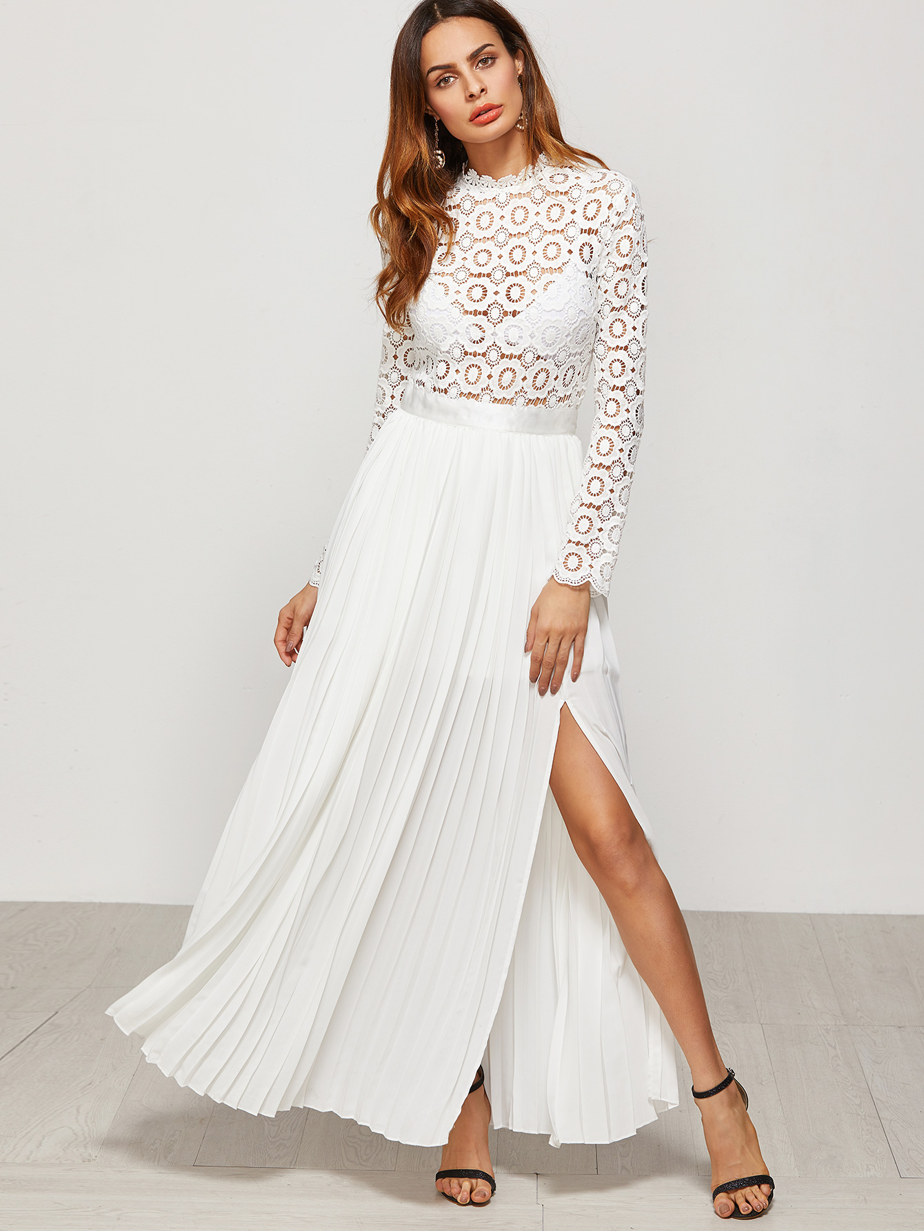 b077484328a White Eyelet Embroidered Lace Top Split Pleated Dress -SheIn ...