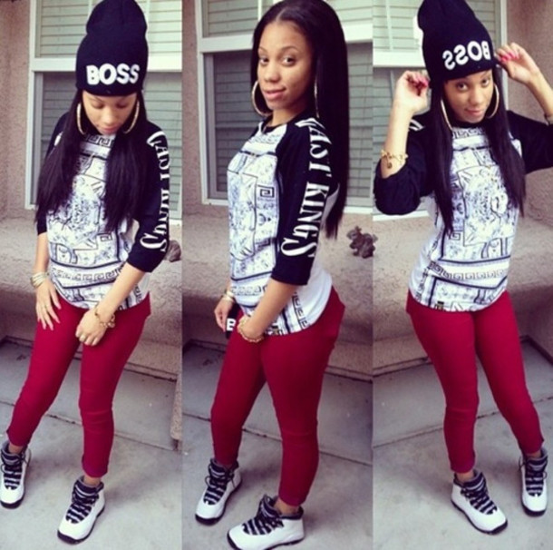 Shirt last kings last kings black fashion dope boss boss outfit red pants jordans ...