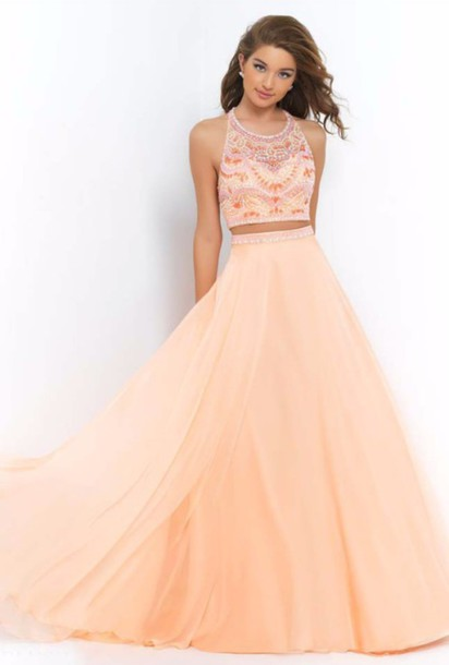 Dress: two piece dress set, peach dress, prom dress, sweet 16 ...