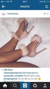 shoes,fur heels,beige,fluffy,sandal heels,nude heels