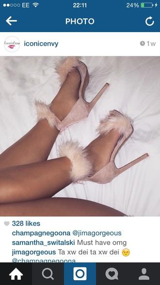 shoes fur heels beige fluffy sandal heels nude heels