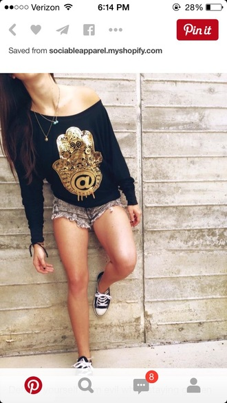 top long sleeves shirt black top black t-shirt blouse graphic tee off the shoulder sweater shorts