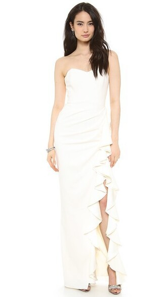 gown strapless ruffle slit dress