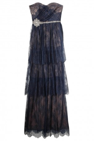 NOTTE BY MARCHESA - Navy Strapless Lace Tiered Gown   Boutique1.com