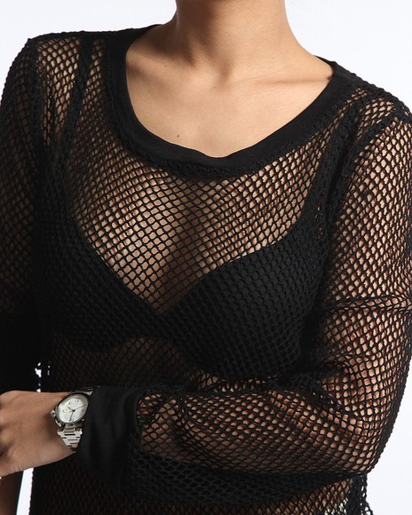 knit fishnet blouse jumper