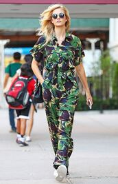jumpsuit,sneakers,sunglasses,karlie kloss,model off-duty,streetstyle,camouflage,camo pants,round sunglasses