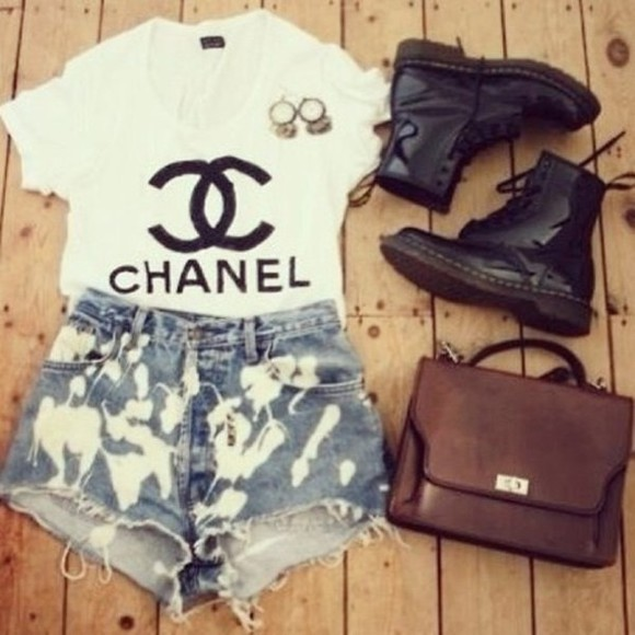 shirt chanel t-shirt shoes tshirt bleached shorts cut offs black combat boots brown leather satchel fall outfits shorts bleached
