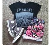 shorts,shirt,t-shirt,hat,white shoes,short dress,cute dress,top,floral,los angeles,losangeles,print,la,flowers,los angeles top,city,black t-shirt,crop tops