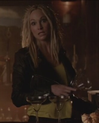 jacket the vampire diaries black yellow cropped moto leather caroline forbes candice accola top
