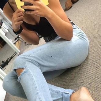 jeans denim tumblr ripped blue teenagers