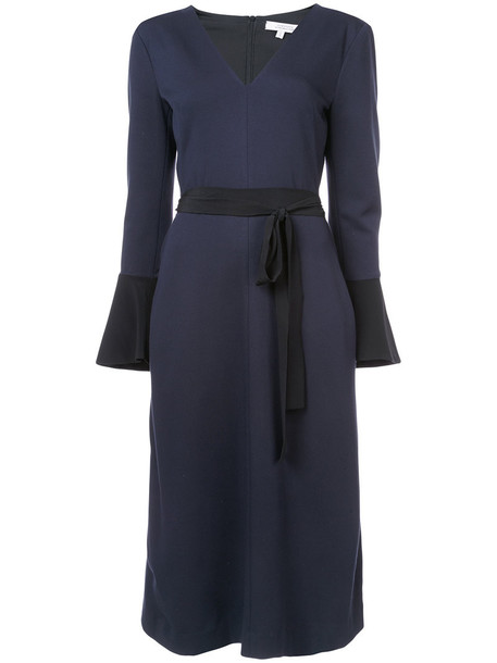 dress bell sleeve dress women blue