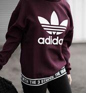 sweater,adidas,trefoil,adidas trefoil,adidas sweater,burgundy sweater,adidas maroon sweater,adidas originals
