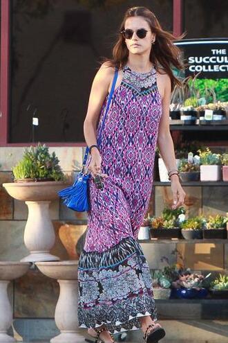 dress summer dress summer alessandra ambrosio maxi dress boho dress bag purse