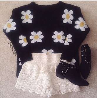 sweater winter sweater oversized sweater boots floral shirt grunge soft grunge combat boots fashion crochet cool shirts crochet shorts b&w yellow