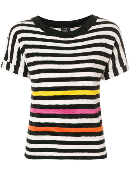 t-shirt shirt striped t-shirt t-shirt women cotton black top