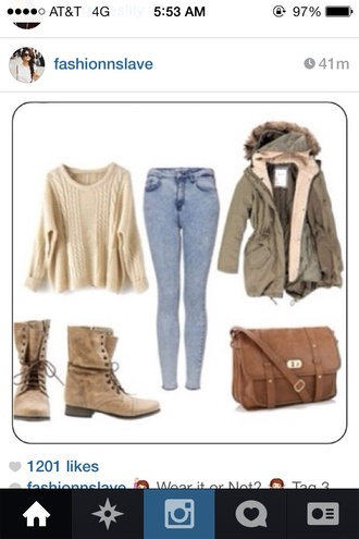 bag leather leather bag long straps buckles boots tan boots ankle boots strings oversized white sweater leigh-anne pinnock army green jacket green jacket blouse shoes jacket jeans denim little mix