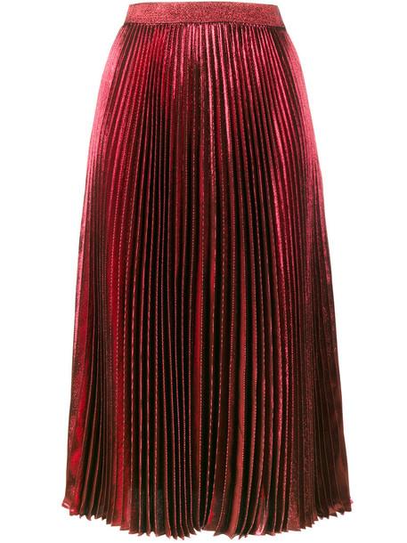skirt metallic skirt high waisted pleated metallic high women silk red