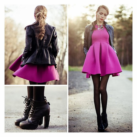 cool women dress autumn shoes boots fashion outfit jacket high heels clothing pink leggings stylish jewels tini tani Choies boho chic